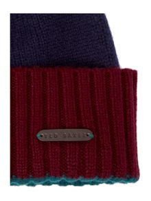 Colour Block Bobble Beanie Hat