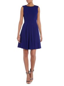 Vince Camuto Pleated dress with leather trim
