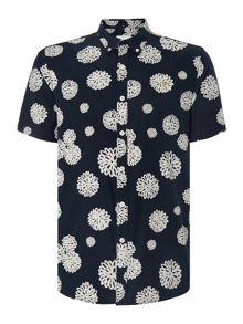 Farah Emmett Slim Fit Floral Print Short Sleeve Shirt