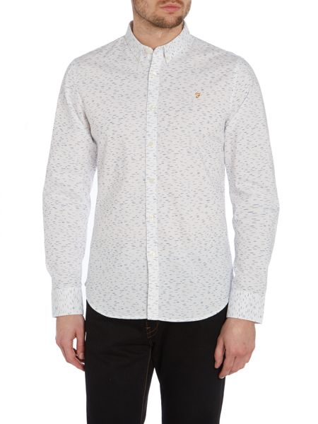 Farah Fewston Slim Fit Long Sleeve Dash Print Shirt