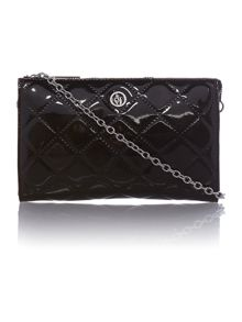 Black quilted patent cross body bag