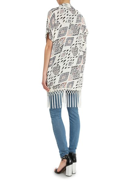 Vince Camuto Printed kimono with fringe detail