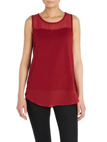 Sleeveless layered top with sheer detail