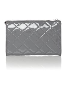 Grey quilted patent cross body bag