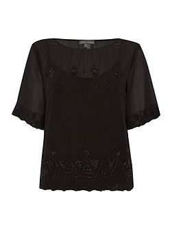 Short sleeve beaded top