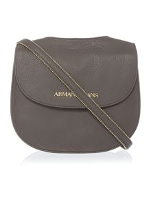 Grey flap over cross body bag