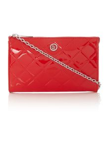 Red quilted patent cross body bag