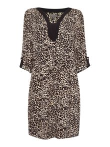 Vince Camuto 3/4 sleeve leopard print dress
