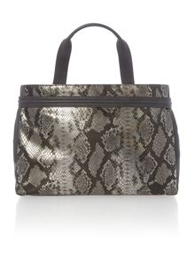 Grey snake east west tote bag