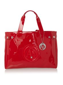 Red patent tote bag