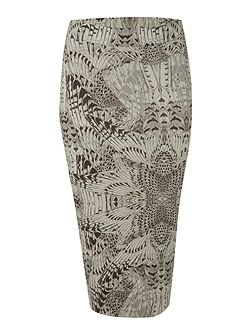 Feather print midi skirt