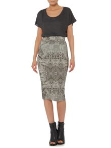 Label Lab Feather print midi skirt