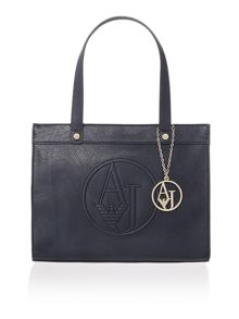 Eco leather navy large tote bag