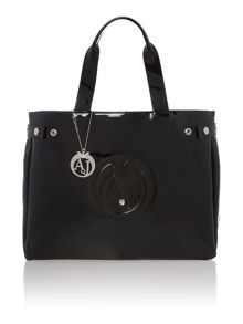 Armani Jeans Patent black large tote bag