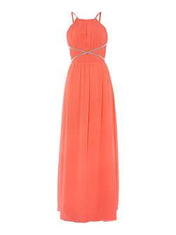 Strappy Cut Out Front Beaded Maxi Dress