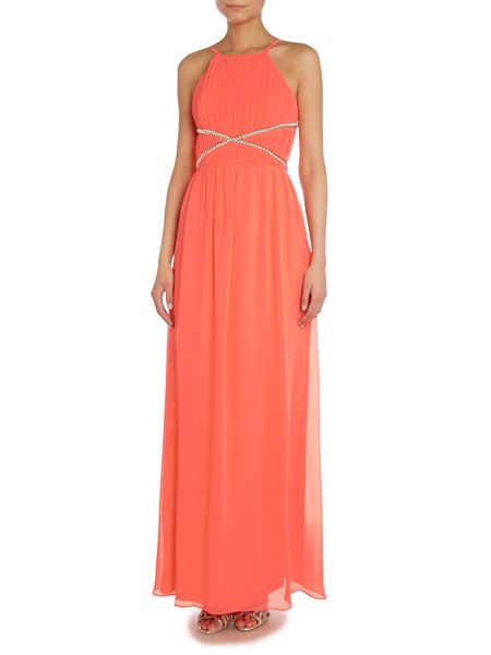 Lipsy Strappy Cut Out Front Beaded Maxi Dress
