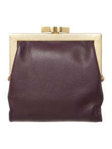 Purple frame flap over purse