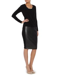 Pencil skirt with PU panel