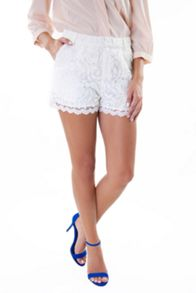 Wolf & Whistle Ivory Lace Shorts