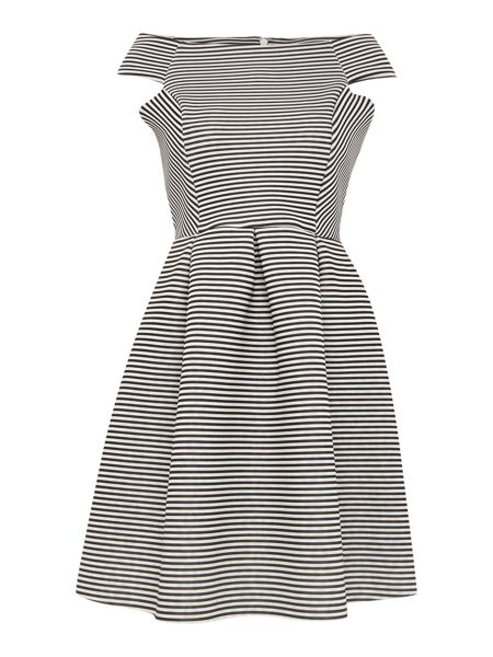 Lipsy Michelle Keegan Off Shoulder Striped Scuba Dress