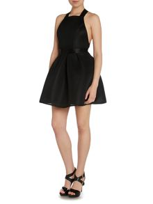 Halter Neck Textured Backless Fit and Flare