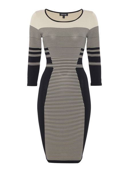 Episode Knitted bodycon dress with stripe detail