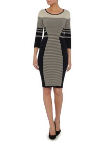 Knitted bodycon dress with stripe detail