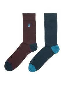 Linea Stag Emboidered Socks, Pack of 2, One Size