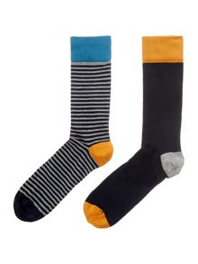 Linea Fine Stripe Socks, 2 Pack, One Size