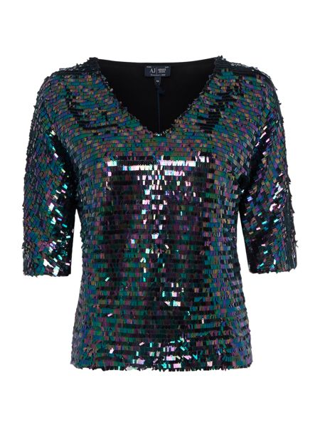 Armani Jeans Half sleeve v neck all over sequin top
