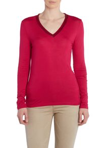 Long sleeve jersey sequin v neck top