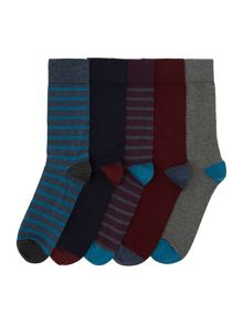 Linea Strip and Plain Socks, Pack of 5, One Size