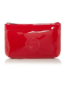 Patent red cosmetic bag