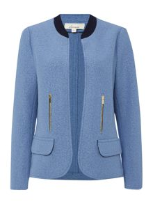 Boiled wool contrast collar jacket