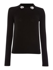 Armani Jeans Long sleeve embellished collar jumper