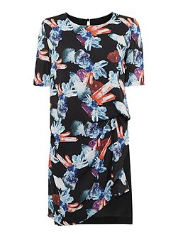 Short sleeve jewel print side ruched dress