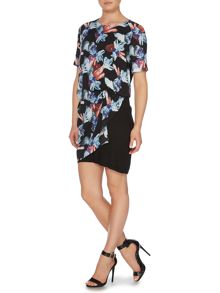 Armani Jeans Short sleeve jewel print side ruched dress