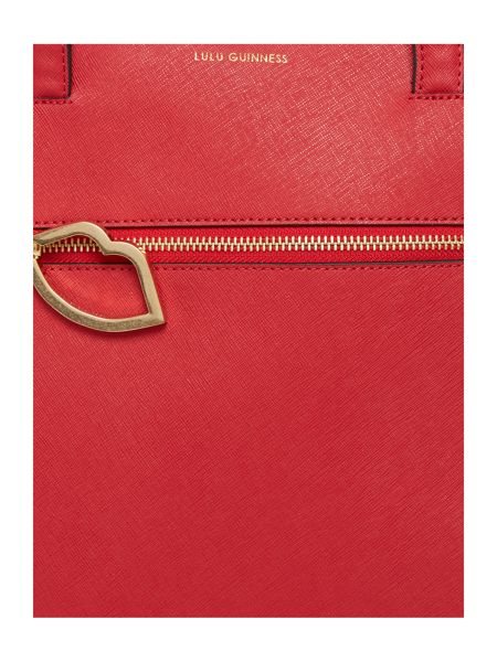 Lulu Guinness Orla saffiano red tote bag