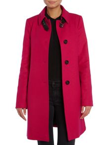 Long wool mix coat with pu trim