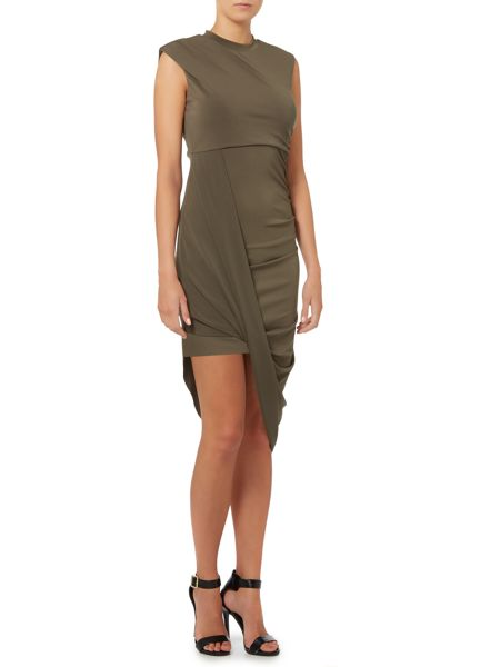 Wal-G Sleeveless High Neck Drape Front Bodycon Dress