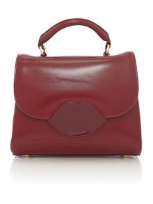 Izzy red small polished satchel