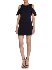 Wal-G Cut out frill shoulder bodycon dress