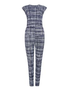 Capped sleeveless printed jumpsuit