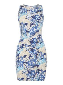 Wal-G Sleevless floral print knot front dress