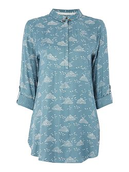Birds and clouds blouse