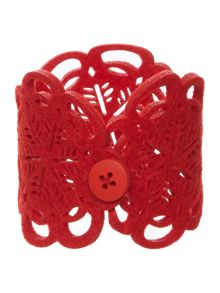 JOY RED FELT NAPKIN RING SET OF 4