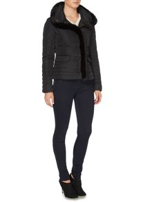 Short length padded coat with faux fur trim