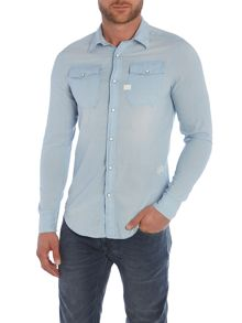 Plain Slim Fit Long Sleeve Collar Shirt