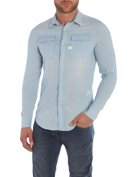 G-Star Plain Slim Fit Long Sleeve Collar Shirt