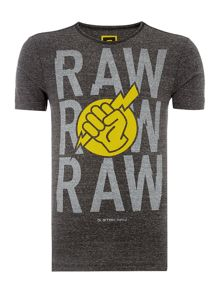 Glims Slim Fit Raw Graphic T-Shirt